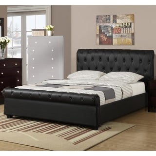 Chic Queen Button Tufted Bed With Rolled HB And FB In Faux Leather, Black