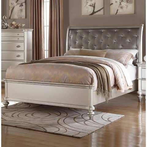 Opulent Wooden Queen Bed with Silver PU Tufted HB, Shinny Silver Finish