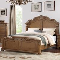 Splendidly Carved C.King Wooden Bed, Light Brown And Veneer Finish