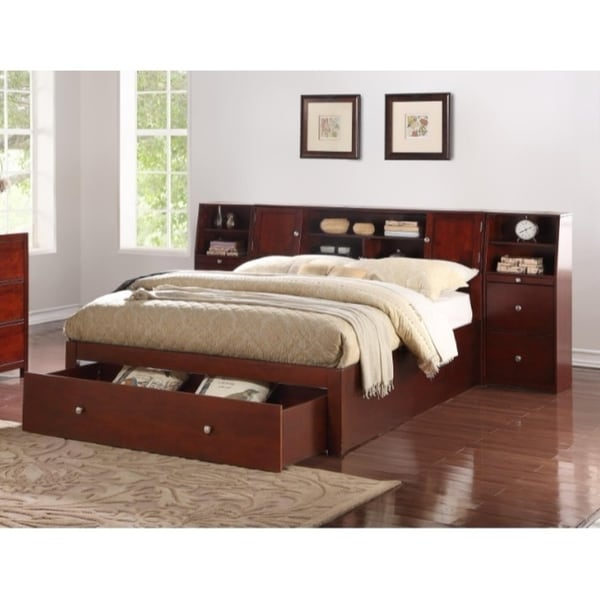 Shop Queen Size Wooden Bed With Spacious Headboard And