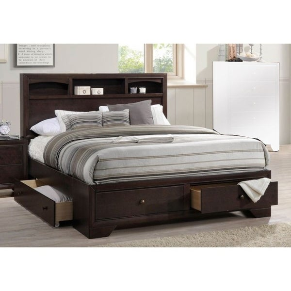 Shop Wooden Queen Bed With Display Shelves Amp Under Bed