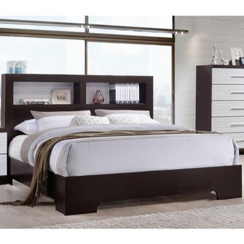 Effortlessly Plain Brown/White Wood Queen Bed with Bookcase Headboard