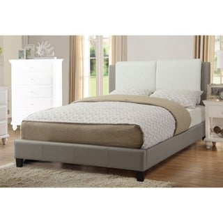 Elegant Wooden Queen Bed With White PU Head Board, Gray