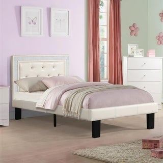 Silky & Sheeny Wooden Full Bed With Light Bone PU Tufted Head Board, White Finish