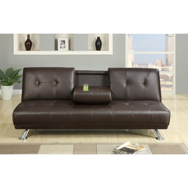 Shop Faux Leather Armless Adjustable Sofa With A Drop Down