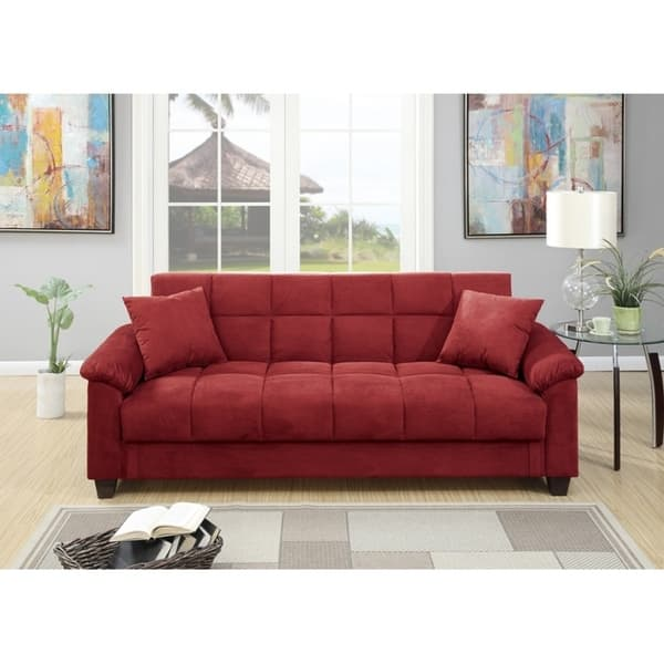 Admirable Microfiber Adjustable Sofa With 2 Pillows In Red Caraccident5 Cool Chair Designs And Ideas Caraccident5Info