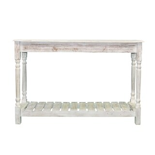 Pine Wood Console Table, Coastal White