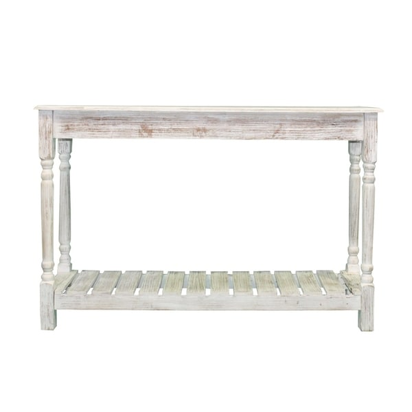 shop pine wood console table coastal white free shipping today rh overstock com Coastal Hall Table coastal farmhouse sofa table