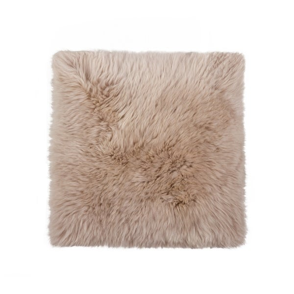 Sheepskin Chair Seat Cover 17x17 Taupe