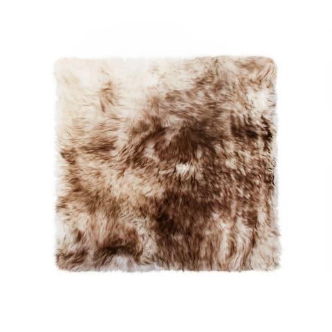 Sheepskin Chair Seat Cover 17x17 Gradient Chocolate