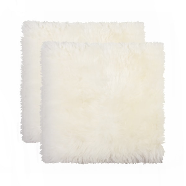 Sheepskin Chair Seat Cover 17x17 2-Pack Natural