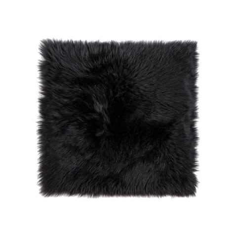 Sheepskin Chair Seat Cover 17x17 Black