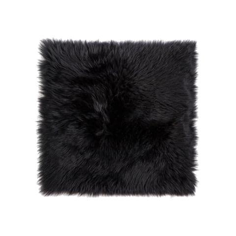 Sheepskin Chair Seat Cover 17x17 Black