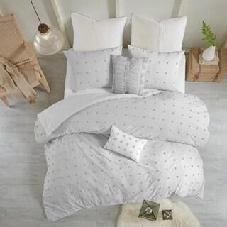Urban Habitat Maize Grey Cotton Jacquard Duvet Cover Set