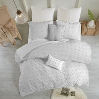 Urban Habitat Maize Grey Cotton Jacquard Duvet Cover Set