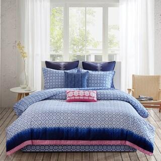 Echo Design Shibori Blue Cotton Reversible Print 4-piece Comforter Set
