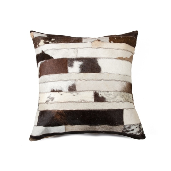 Torino Madrid Cowhide Pillow 18x18 - Chocolate & Natural