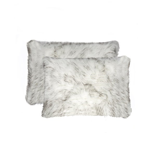 Belton 'Faux Sheepskin' Pillow 12x20 - 2-Pack - Gradient Grey