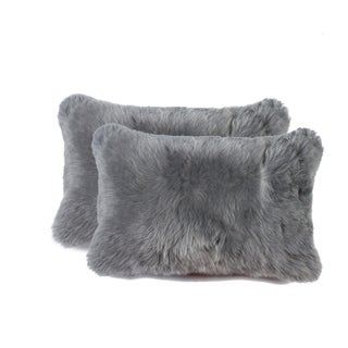 New-Zealand Sheepskin Pillow 12x20 2-Pack - Grey