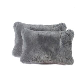 New-Zealand Sheepskin Pillow 12x20 2-Pack - Grey