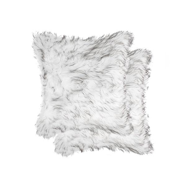 Belton 'Faux Sheepskin' Pillow 18x18 - 2-Pack - Gradient Grey