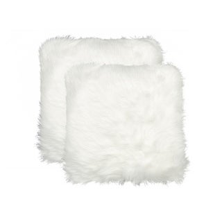 Belton 'Faux Sheepskin' Pillow 18x18 - 2-Pack - Off-White