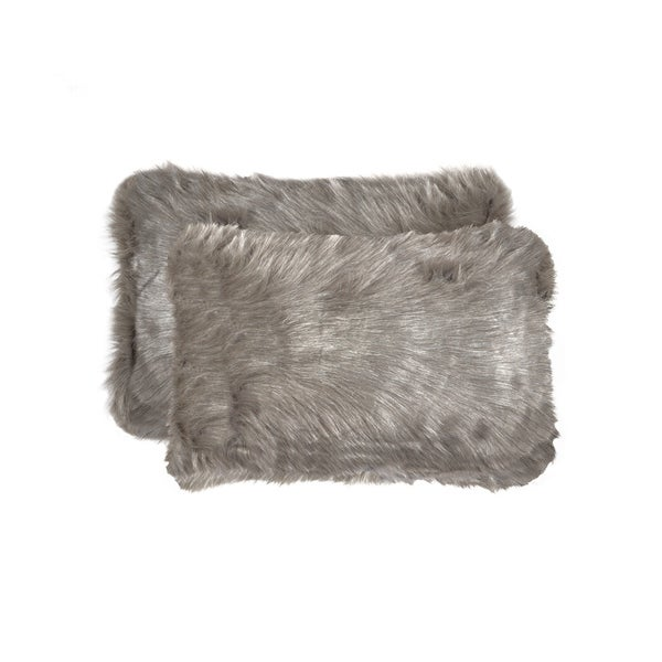 Belton 'Faux Sheepskin' Pillow 12x20 - 2-Pack - Grey