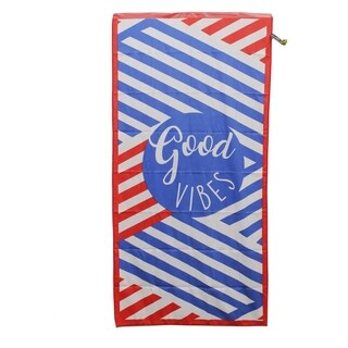 Premium Large Compact Beach Pool Towel Good Vibes, Red By MinxNY