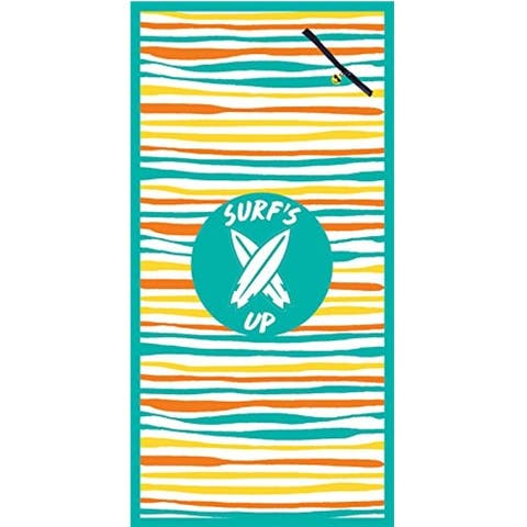 Premium Large Beach Pool Towel With Pocket Surf's Up Green By MinxNY