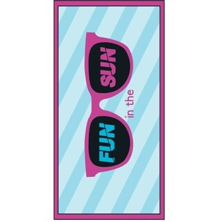 Premium Large Compact Beach Pool Towel Fun In The Sun Blue/Pink