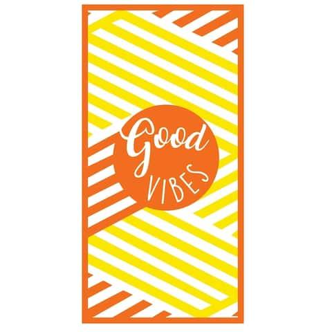 Premium Large Beach Pool Towel W/ Pocket Good Vibes, Yellow By MinxNY