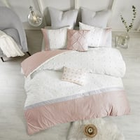 Urban Habitat Jojo Blush Cotton Jaquard 7-piece Duvet Cover Set