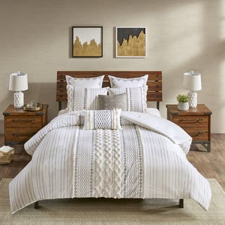 The Curated Nomad Clementina Ivory Cotton Printed Chenille 3-piece Comforter Set