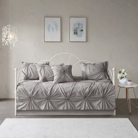 Madison Park Lorilyn Dark Gray 6-piece Day Bed Cover Set with Elastic Embroidery