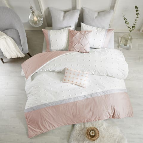 Urban Habitat Jojo Blush Cotton Jacquard 7-piece Comforter Set