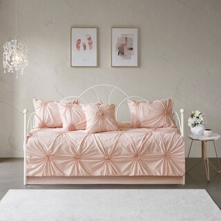 Madison Park Lorilyn Blush 6-piece Day Bed Cover Set with Elastic Embroidery