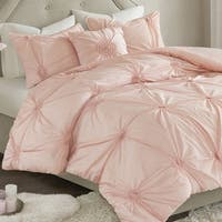 Madison Park Lorilyn Blush 4-piece Duvet Cover Set with Elastic Embroidery