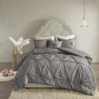 Madison Park Lorilyn Dark Gray 4-piece Duvet Cover Set with Elastic Embroidery