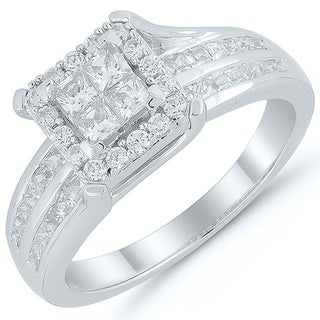 Caressa 10K White Gold 1.00CT.T.W. Diamond Quad Frame Engagement Ring - White H-I
