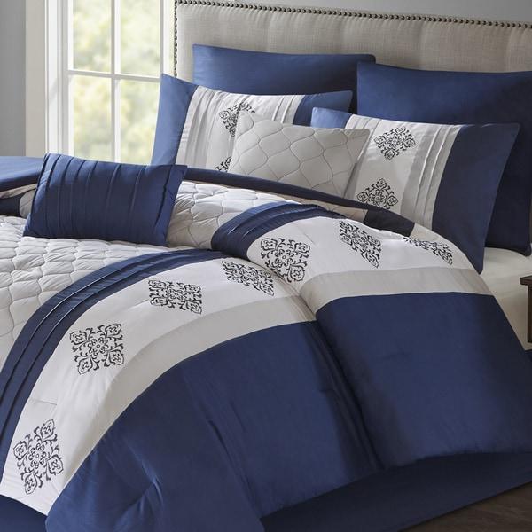 510 Design Donetta Navy Embroidered 8-piece Comforter Set
