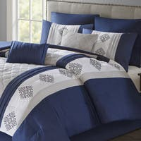 510 Design Donetta Navy Embroidered 8-piece Comforter Set