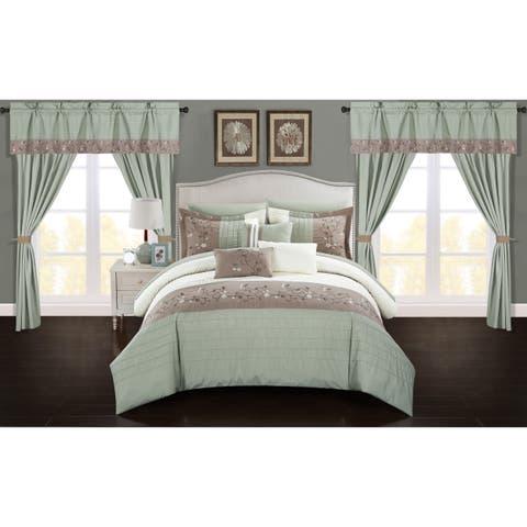 Chic Home Sonjae Sage Color Block Floral 20-Piece Bed in a Bag Set