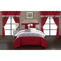 Chic Home Sonjae Red Color Block Floral 20-Piece Bed in a Bag Set