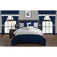 Chic Home Sonjae Navy Color Block Floral 20-Piece Bed in a Bag Set