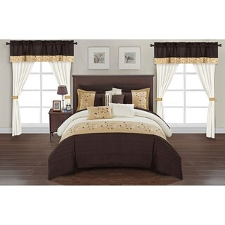Chic Home Sonjae Brown Color Block Floral 20-Piece Bed in a Bag Set