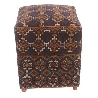 "Teddy Brown/Blue Antique Kilim Upholstered Handmade Ottoman (20""x16""x16"")"