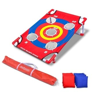 GoSports Bullseye Bounce Cornhole Toss Game - Great for All Ages & Includes Fun Rules - Red