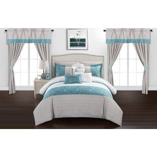 Chic Home Sonjae Blue Color Block Floral 20-Piece Bed in a Bag Set