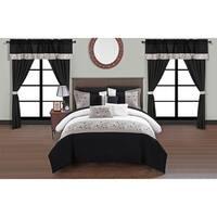 Chic Home Sonjae Black Color Block Floral 20-Piece Bed in a Bag Set