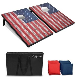 GoSports American Flag Cornhole Set  Includes Two 3 x 2 Boards, 8 Bean Bags, Carrying Case and Game Rules
